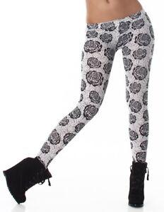 Leggings donna pantacollant fuseaux stampa a fiori pantaloni stretti bicolore