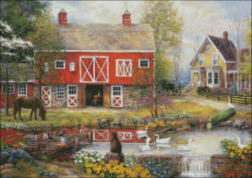 Country Living Chart Counted Cross Stitch Patterns Needlework DIY DMC Color