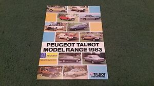 1983-PEUGEOT-TALBOT-RANGE-104-305-505-604-SAMBA-HORIZON-ALPINE-RANCHO-BROCHURE