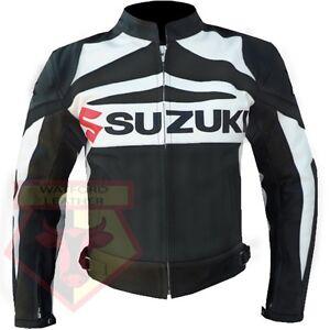 SUZUKI-GSX-BLACK-MOTORBIKE-MOTORCYCLE-BIKER-COWHIDE-LEATHER-ARMOURED-JACKET
