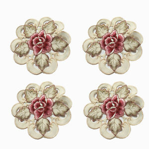 4-un-Bordado-Floral-Mantel-oval-Tapete-Posavasos-Taza-de-tela-cubierta-de-tabla-15cm