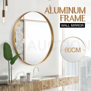 60cm Round Wall Mirror Bathroom Vanity Decor Gold Aluminum Frame Makeup Mirror Ebay