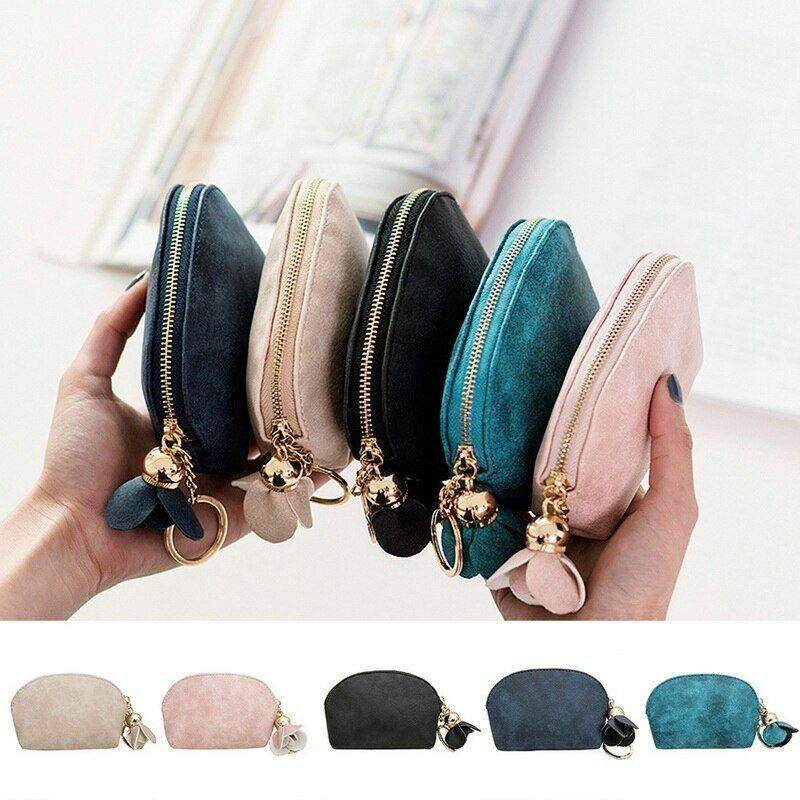 Mini Wallet Holder Leather Small Case Clutch Card Key Money Bag Zip Coin Purse