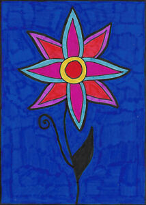 Original-Drawing-by-Jay-Snelling-Outsider-Art-Brut-Flower-Colourful
