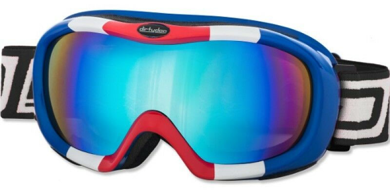 DIRTY DOG SCOPE SKI SNOWBOARDING GOGGLES RED WHITE blueE FUSION MIRROR LENS