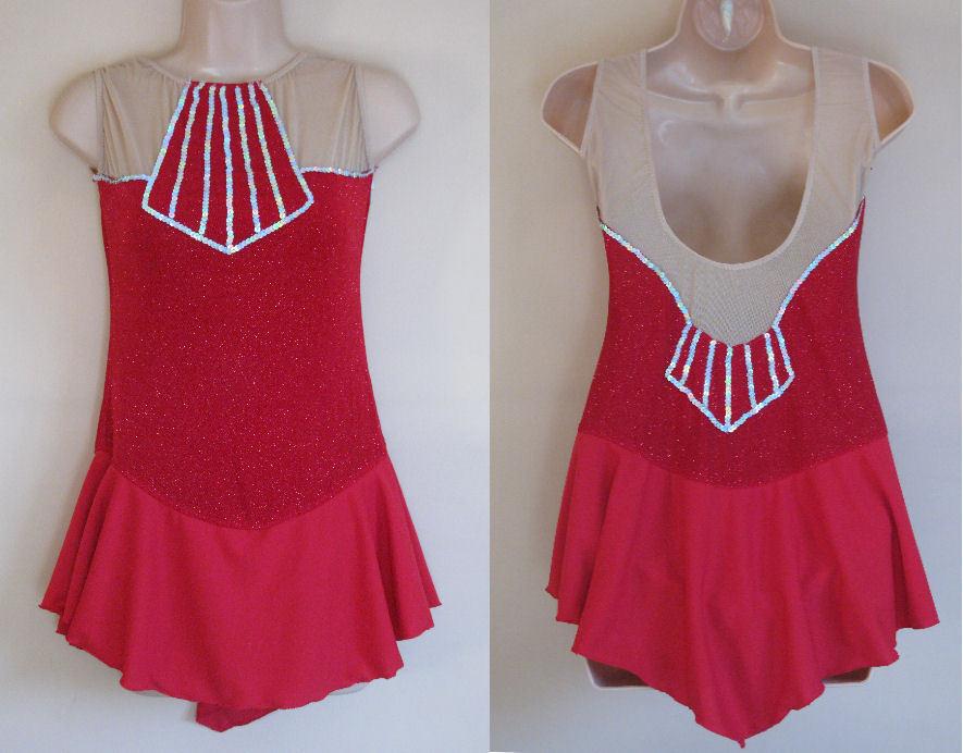 AS Ice Roller  Skating Dress Red Lycra Majorette Baton Dance Costume Leotard  exclusive designs