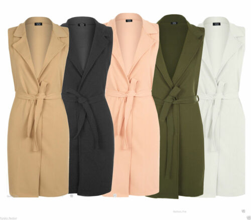 Womens Ladies Celeb Sleeveless Belted Crepe Textured Open Long Waistcoat Jacket