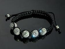 Glamouröses SHAMBALLA Armband mit SWAROVSKI Elementen 16-22 cm Weiße Pavé-Perlen