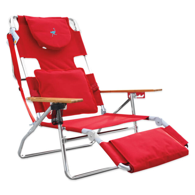 Enjoyable 3 In 1 Padded Seat Footrest Lumbar Pillow Flip Cup Holder Deluxe Beach Chair Red Creativecarmelina Interior Chair Design Creativecarmelinacom