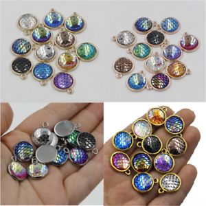 10PCS-12mm-Resin-Metal-Mermaid-Fish-Scale-Charms-Pendant-Jewelry-Necklace-DIY