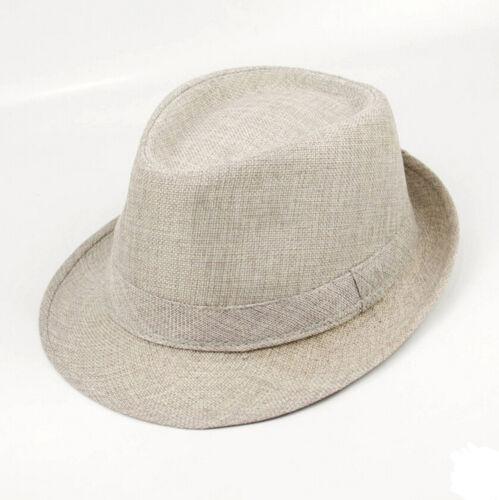 Sun Jazz Panama Gangster Cap Unisex Men Women Trilby Fedora Summer Beach Hat