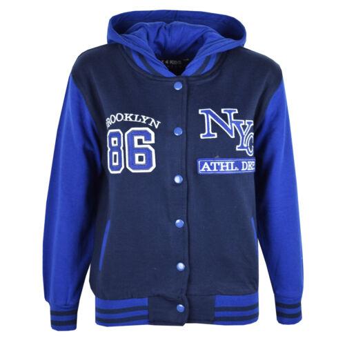 Enfants Garçons Filles Baseball NYC Athletic Veste à Capuche Varsity Sweat à Capuche Âge 5-13 An