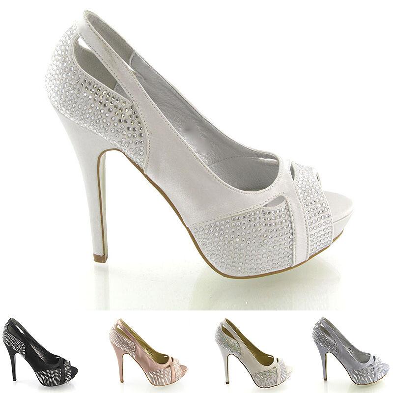 New Womens Diamante Bridal Heels Ladies Platform Evening Prom Wedding Shoes Size