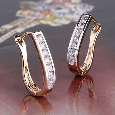 18K Gold Platinum filled DASHING DESIGN Huggie white sapphire earring