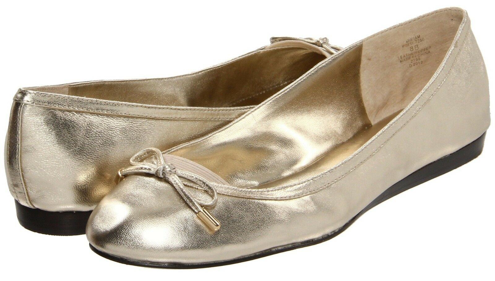 New Lauren Ralph Lauren MIRIAM Leather Flat Bow Ballet Slip-On Moc Flat Leather ~Gold *6 4b2c06