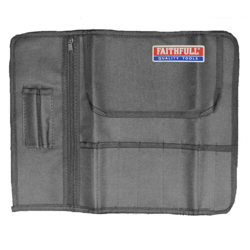 8 Pocket Tool /& Chisel Holder Storage Roll Pouch Faithfull FAILCR8