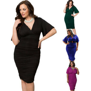 Details about Women Plus Size Dress V-neck Ruched Stretch Bodycon Party  Evening Midi Dresses