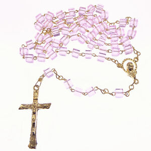 0acce4d32 Small light pink glass cube rosary beads gold tone chain 40cm length ...