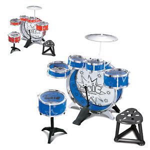 Ninos-Kit-de-tambor-Jazz-Canal-sonido-Set-Juego-Juguete-Musical-con-taburete