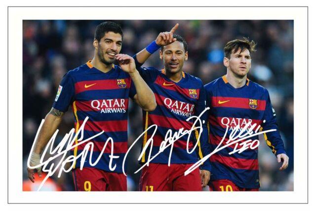 c522778be Luis Suarez Neymar Jr & Lionel Messi FC Barcelona Signed Photo Print Soccer  for sale online | eBay