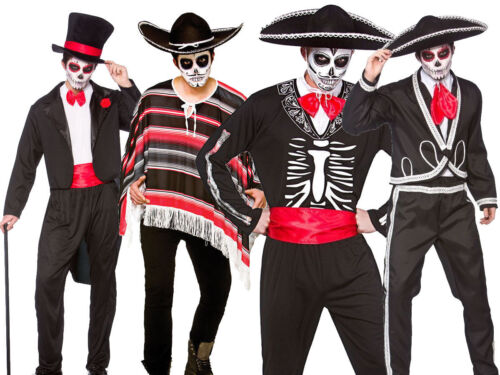 Adult Day Of The Dead Mexican Mens Halloween Fancy Dress Costume New