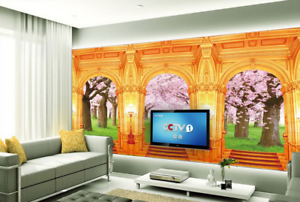 3D golden Palace 77 Wall Paper Murals Wall Print Wall Wallpaper Mural AU Lemon