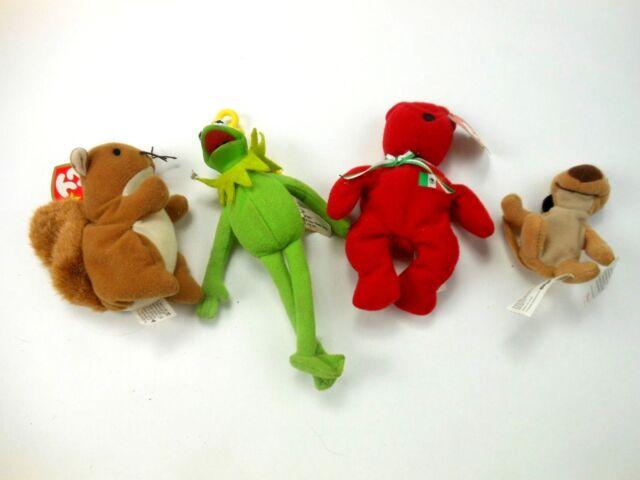 Vintage Disney Kelloggs Kermit The Frog Beanie Babies Nuts Squirrel Osito  Bear ffd4cc92e36