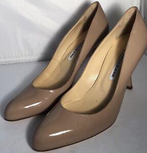 Manolo Blahnik Beige Nude Tayler 105 Patent Leather D