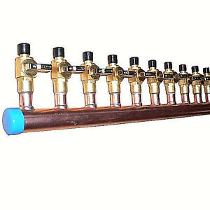 1-034-Copper-Manifold-3-4-034-Pex-Crimp-Fitting-With-amp-W-O-Ball-Valve-2-12-Loops