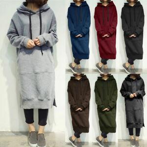 6de4ae54b Details about UK 8-24 Women Drop Shoulder Hoodies Kangaroo Pockets Maxi Sweatshirt  Dress Baggy