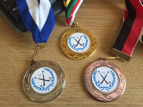 40 mm Centres /& rubans 3 x Hockey médailles Or Argent /& Bronze-Gravure Gratuite