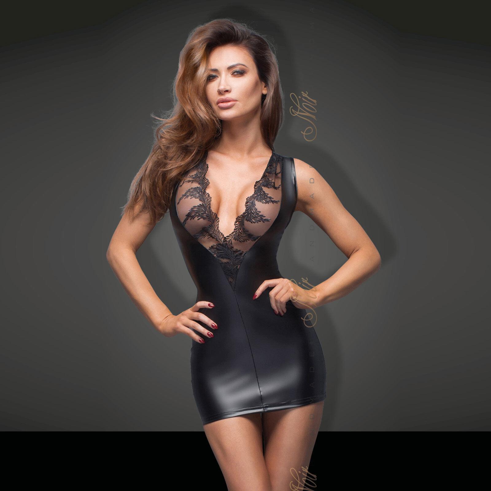 schwarz HANDMADE Wetlook Mini Kleid Power Dress Mit Spitze Tolles Dekolletee HOT