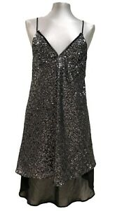NEW-ZARA-B-amp-W-COLLECTION-SILVER-SEQUENCE-DRESS-M
