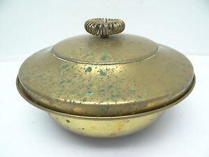 Vintage-Usado-Laton-Macizo-Beau-Espiral-Arriba-Moderno-Cocina-Sirviendo-con-Tapa