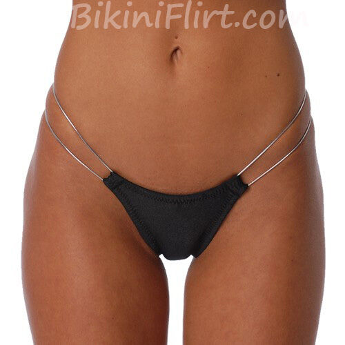 SEXY BLACK & SILVER SIDE THONG BIKINI BOTTOM! SO SKIMPY! BARELY THERE! BRAND NEW
