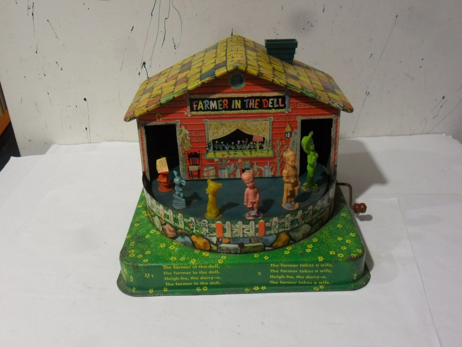 Vintage 1953 A-Mattel  Tin Litho Farmer in the Dell .
