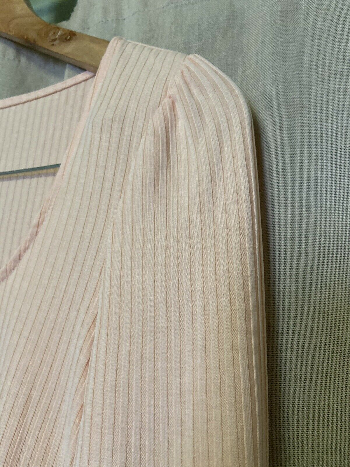 Anthropologie Size Small Peach Ribbed Long Sleeve… - image 3