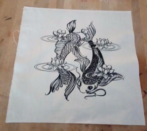 Lotus Pond Carpe Poisson écran Imprimé Tissu Panneau faire un coussin Craft Sac Front