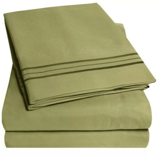 SOLID 4PC BED SHEET SET ALL SIZES 1800 SERIES SOFT BRUSHED MICROFIBER BEDDING