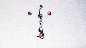 Pink-Stone-Bird-Belly-Button-Navel-Ring-Body-Jewelry-Piercing-Free-Earrings-Set