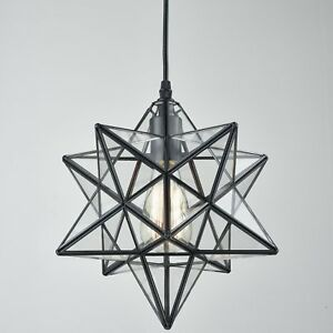Image Is Loading Moravian Star Ceiling Light Clear Gl Pendant