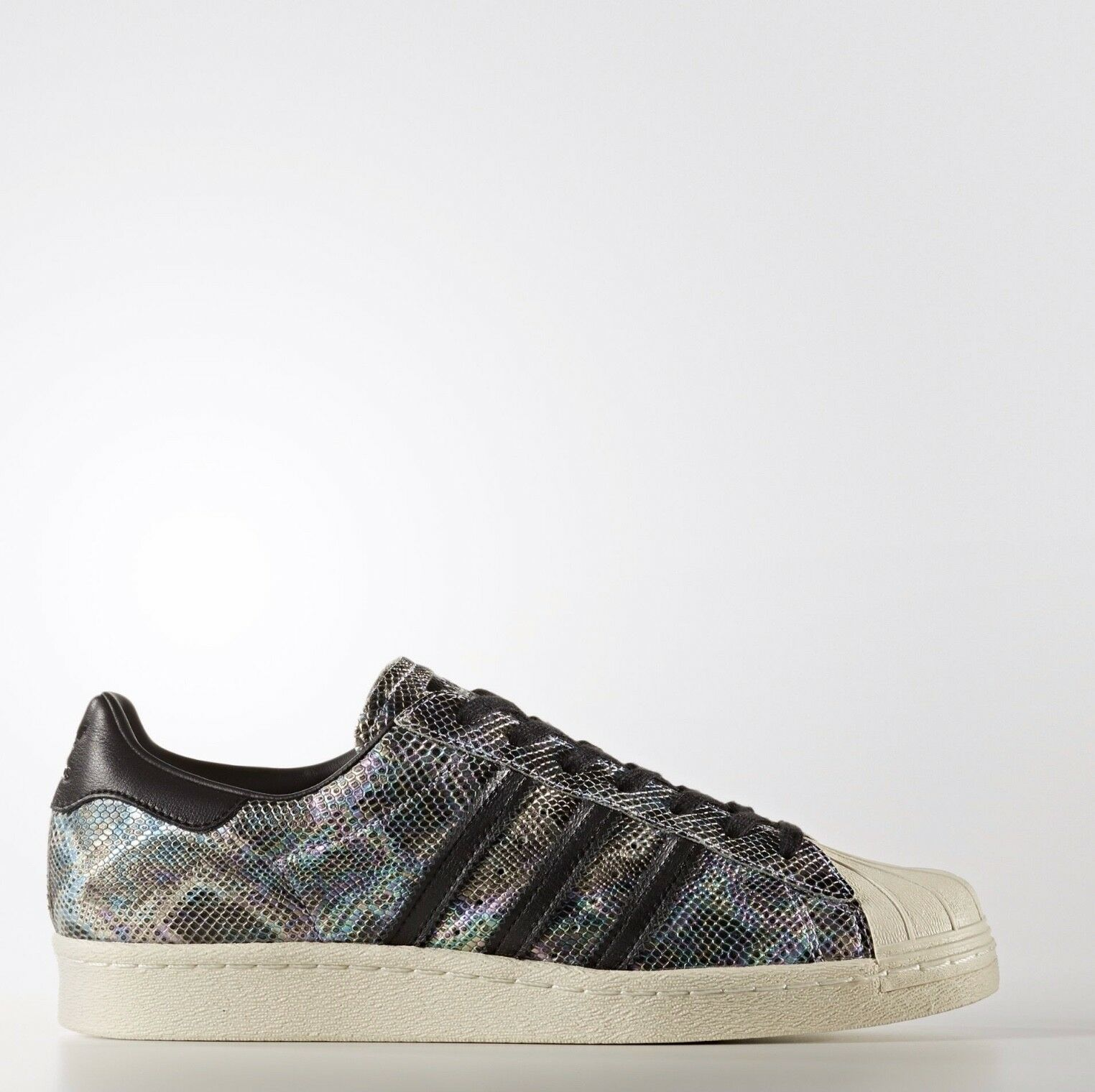 Adidas Originals Superstar 80s 80's Black White Metallic Snakeskin BZ0142 Sz 9.5