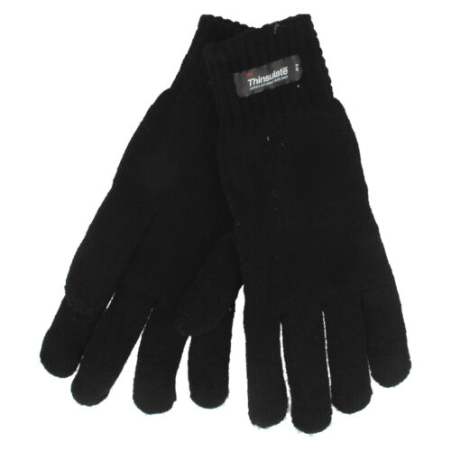 Rjm Homme Noir HEATGUARD Thermique Thinsulate Tricoté Hiver Acrylique Gants GL130