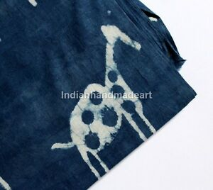 By-The-Yard-India-Hand-Block-Indigo-Blue-Ikat-Print-100-Cotton-Fabric-Bagaru