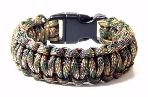 Premium 550 Paracord Survival Bracelet Recon CAMO 5//8 Boucle Hand Made USA