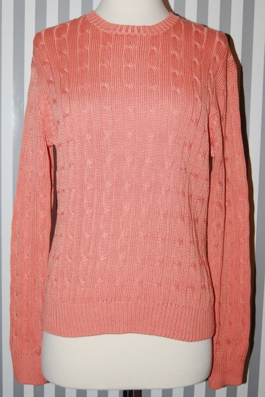 Brooks Bredhers 346 Cable Knit Sweater Fine Mercerized Cotton Soft Salmon Pink L