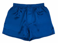 SEXY 100% Charmeuse SILK Mens Boxer Shorts M 32-34 (Electric Blue)