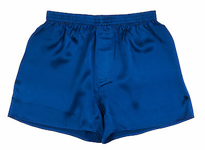 Y 100 Charmeuse Silk Mens Boxer Shorts M 32 34 Electric Blue