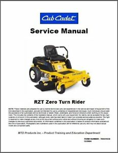 cub cadet rzt zero turn rider lawn mower service repair manual cd