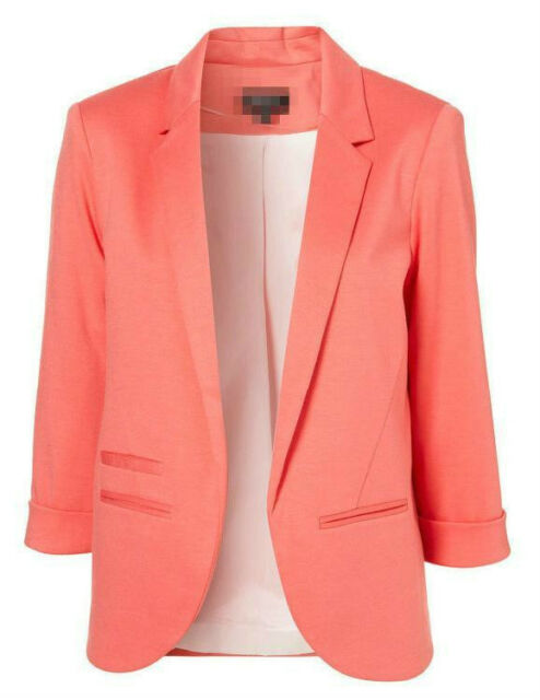 New Womens Fashion Candy Color Seventh Volume Sleeve Jacket Blazer 6 Colors